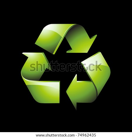 Glossy green recycle icon
