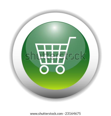shopping cart icon. Green Shopping Cart Icon
