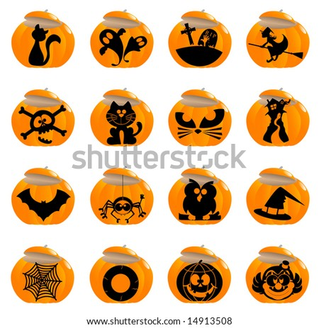 Glossy Halloween icons - Part 3 (vector)