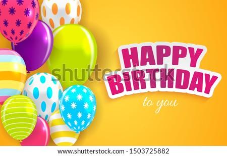 Glossy Happy Birthday Balloons Background Vector Illustration eps10 Stockfoto ©