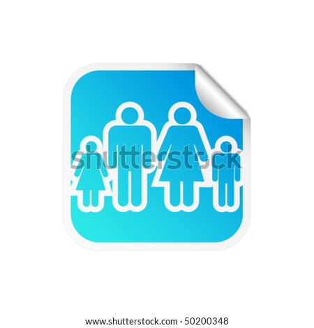 Glossy happy family sticker icon with peeled edge - stock vector