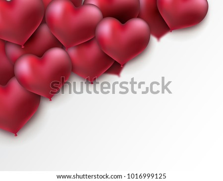 Glossy heart balloons. Valentines day holiday sign. Vector illustration, heart shape. Place for text. Festive decoration element. Love concept.