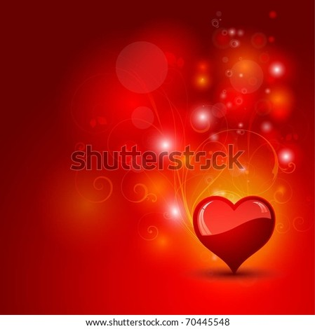 Glossy heart on an abstract background