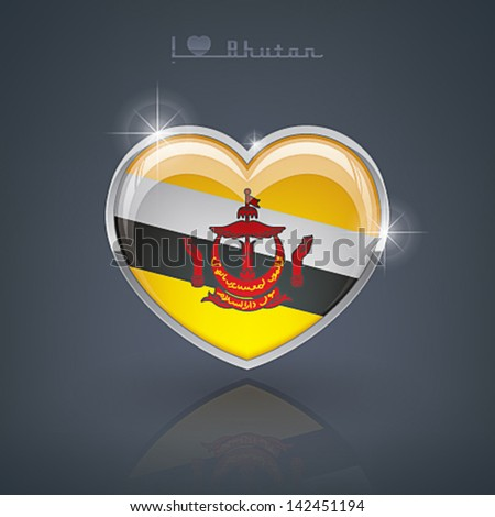 Glossy heart shape flags of the Worlds: Nation of Brunei