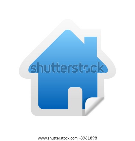 Glossy home sticker icon with peeled edge