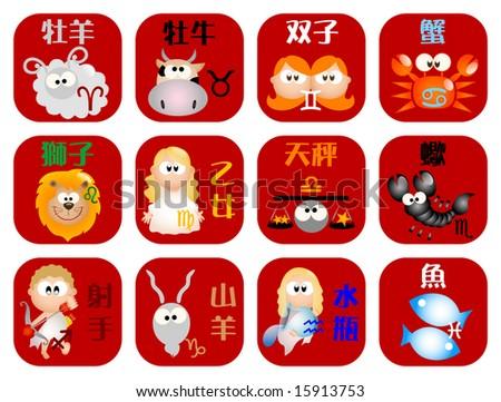 Glossy horoscope icons - Part 2 (vector)
