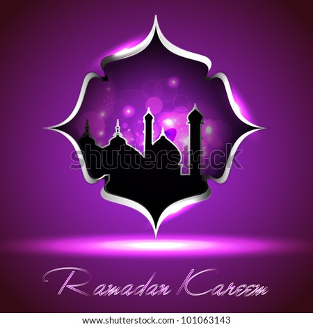 Glossy icon of Mosque or Masjid with Ramadan Kareem text on modern floral background in purple color EPS 10 Vector Illustration.