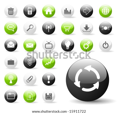 Glossy Icon Set for Web Applications - Vector