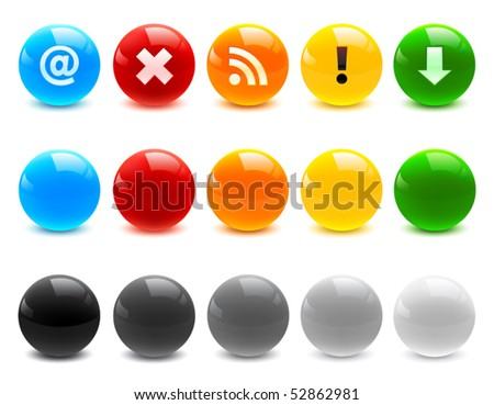 Glossy icons - stock vector