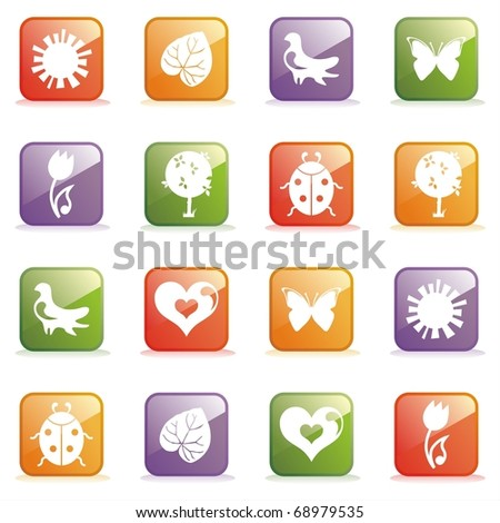 Glossy Icons for Web on the topic spring. Vector illustration