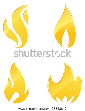 Glossy icons of orange flames and fire set - stock vector