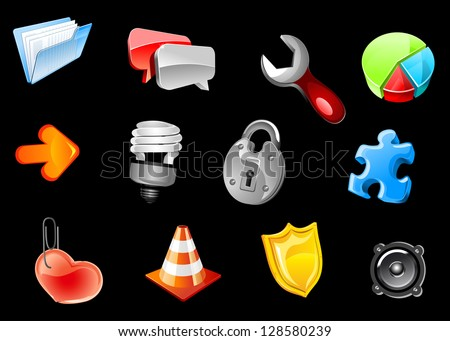 Glossy icons set for web and internet design. Jpeg version also available in gallery - stock vector