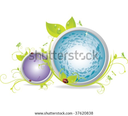Glossy Icons with a habitat of leaves, vines, and insects - stock vector