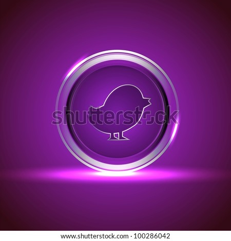 Glossy isolated website and internet web 2.0 icon with bird symbol in purple color. EPS 10.