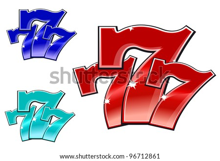 Glossy 777 jackpot symbol isolated on white background, such  a logo. Jpeg version also available in gallery