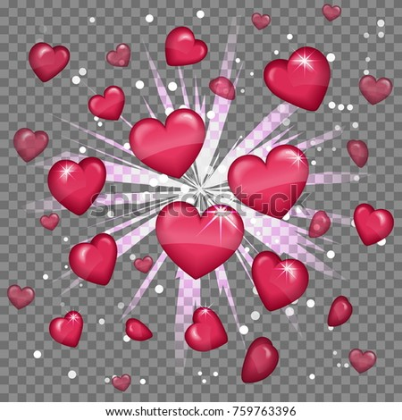 glossy love hearts light beam...
