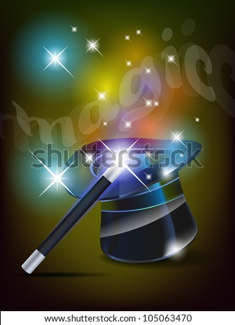 Glossy magic hat and wand - vector file