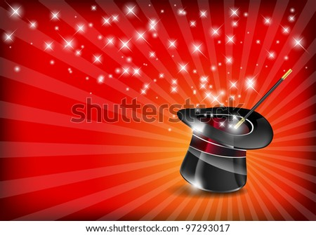 Glossy magic hat and wand with stars - vector file