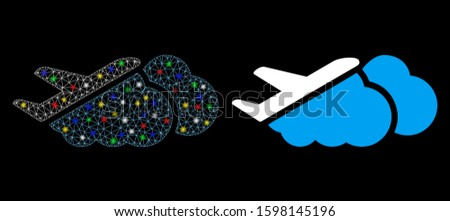 Glossy mesh airplane over clouds icon with sparkle effect. Abstract illuminated model of airplane over clouds. Shiny wire carcass triangular network airplane over clouds icon.