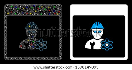 Glossy mesh atomic engineer calendar page icon with sparkle effect. Abstract illuminated model of atomic engineer calendar page. Shiny wire frame triangular mesh atomic engineer calendar page icon.