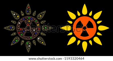 Glossy mesh atomic radiation icon with glow effect. Abstract illuminated model of atomic radiation. Shiny wire frame triangular mesh atomic radiation icon. Vector abstraction on a black background.