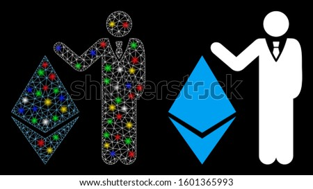 Glossy mesh banker show Ethereum icon with lightspot effect. Abstract illuminated model of banker show Ethereum. Shiny wire carcass polygonal mesh banker show Ethereum icon.