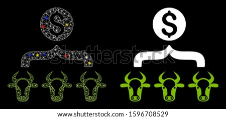 Glossy mesh cattle result money icon with glare effect. Abstract illuminated model of cattle result money. Shiny wire carcass polygonal mesh cattle result money icon.