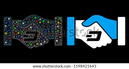 Glossy mesh Dash contract hands icon with glow effect. Abstract illuminated model of Dash contract hands. Shiny wire carcass polygonal mesh Dash contract hands icon.