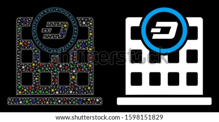 Glossy mesh Dash corporation building icon with sparkle effect. Abstract illuminated model of Dash corporation building. Shiny wire frame polygonal mesh Dash corporation building icon.