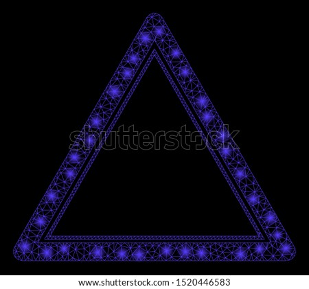 Glossy mesh double triangle frame with glitter effect. Abstract illuminated model of double triangle frame icon. Shiny wire carcass triangular network double triangle frame.