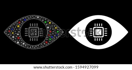 Glossy mesh electronic vision lens icon with glitter effect. Abstract illuminated model of electronic vision lens. Shiny wire carcass polygonal mesh electronic vision lens icon.