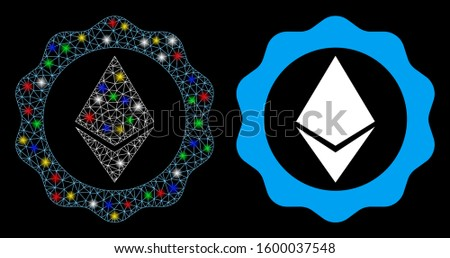 Glossy mesh Ethereum badge seal icon with glare effect. Abstract illuminated model of Ethereum badge seal. Shiny wire carcass triangular mesh Ethereum badge seal icon.