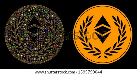Glossy mesh Ethereum classic laurel coin icon with glare effect. Abstract illuminated model of Ethereum classic laurel coin. Shiny wire carcass triangular mesh Ethereum classic laurel coin icon.