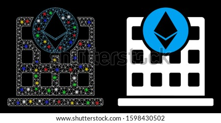Glossy mesh Ethereum corporation office icon with sparkle effect. Abstract illuminated model of Ethereum corporation office. Shiny wire carcass triangular mesh Ethereum corporation office icon.