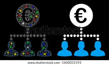 Glossy mesh Euro payment clients icon with sparkle effect. Abstract illuminated model of Euro payment clients. Shiny wire carcass triangular mesh Euro payment clients icon.