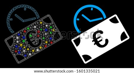 Glossy mesh Euro recurring payment icon with glow effect. Abstract illuminated model of Euro recurring payment. Shiny wire carcass triangular mesh Euro recurring payment icon.