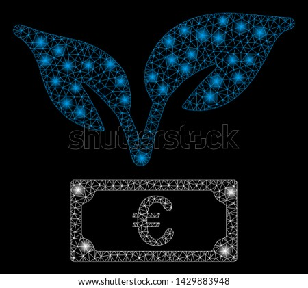 Glossy mesh Euro startup sprout with sparkle effect. Abstract illuminated model of Euro startup sprout icon. Shiny wire carcass triangular mesh Euro startup sprout.