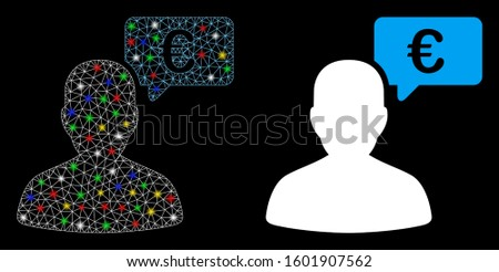 Glossy mesh Euro user opinion icon with glare effect. Abstract illuminated model of Euro user opinion. Shiny wire carcass triangular mesh Euro user opinion icon.