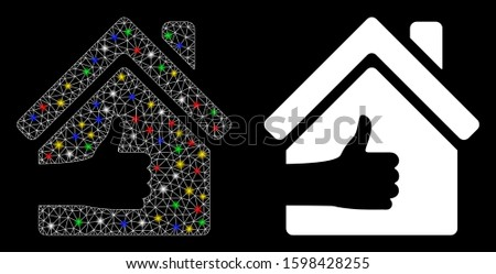 Glossy mesh excellent house icon with glitter effect. Abstract illuminated model of excellent house. Shiny wire carcass polygonal mesh excellent house icon. Vector abstraction on a black background.