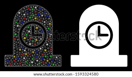 Glossy mesh expired grave icon with glow effect. Abstract illuminated model of expired grave. Shiny wire carcass polygonal mesh expired grave icon. Vector abstraction on a black background.