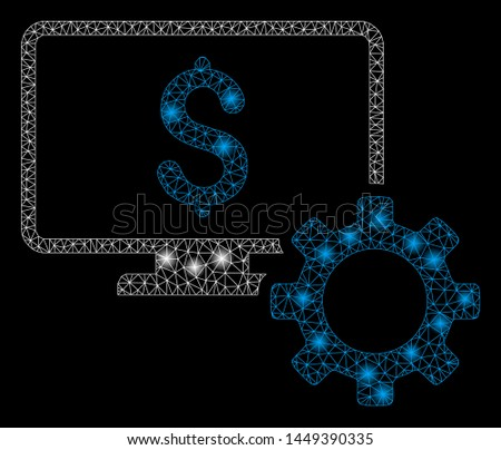 Glossy mesh financial monitoring options with sparkle effect. Abstract illuminated model of financial monitoring options icon. Shiny wire frame polygonal network financial monitoring options.
