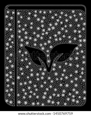 Glossy mesh flora book with lightspot effect. Abstract illuminated model of flora book icon. Shiny wire frame triangular mesh flora book. Vector abstraction on a black background.