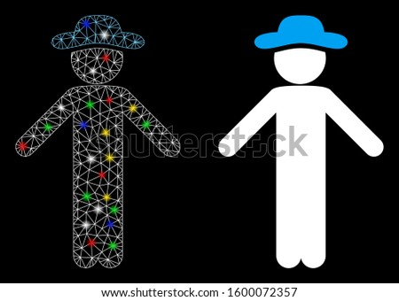 Glossy mesh gentleman apology icon with sparkle effect. Abstract illuminated model of gentleman apology. Shiny wire frame triangular mesh gentleman apology icon.