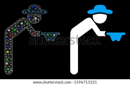 Glossy mesh gentleman beggar icon with glare effect. Abstract illuminated model of gentleman beggar. Shiny wire frame polygonal mesh gentleman beggar icon. Vector abstraction on a black background.
