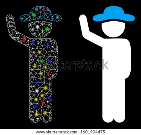 Glossy mesh gentleman hitchhike icon with sparkle effect. Abstract illuminated model of gentleman hitchhike. Shiny wire frame polygonal mesh gentleman hitchhike icon.