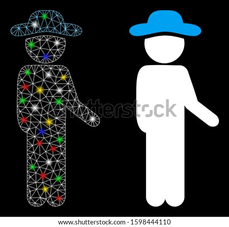 Glossy mesh gentleman idler icon with glare effect. Abstract illuminated model of gentleman idler. Shiny wire frame triangular mesh gentleman idler icon. Vector abstraction on a black background.