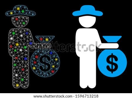 Glossy mesh gentleman investor icon with glare effect. Abstract illuminated model of gentleman investor. Shiny wire frame polygonal mesh gentleman investor icon.