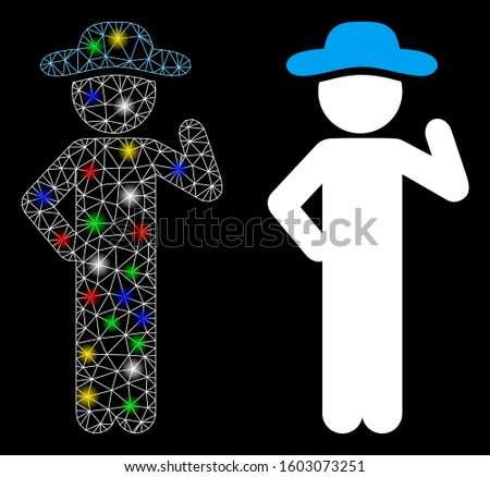 Glossy mesh gentleman proposal icon with glow effect. Abstract illuminated model of gentleman proposal. Shiny wire frame polygonal mesh gentleman proposal icon.