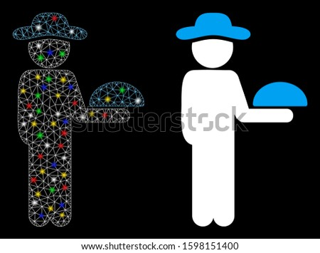 Glossy mesh gentleman waiter icon with glare effect. Abstract illuminated model of gentleman waiter. Shiny wire carcass polygonal mesh gentleman waiter icon. Vector abstraction on a black background.