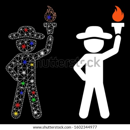 Glossy mesh gentleman with freedom torch icon with glitter effect. Abstract illuminated model of gentleman with freedom torch. Shiny wire frame triangular mesh gentleman with freedom torch icon.